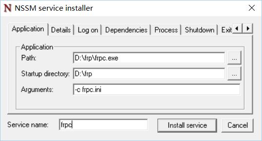 FRP 后台运行 安装为系统服务 开机自启动